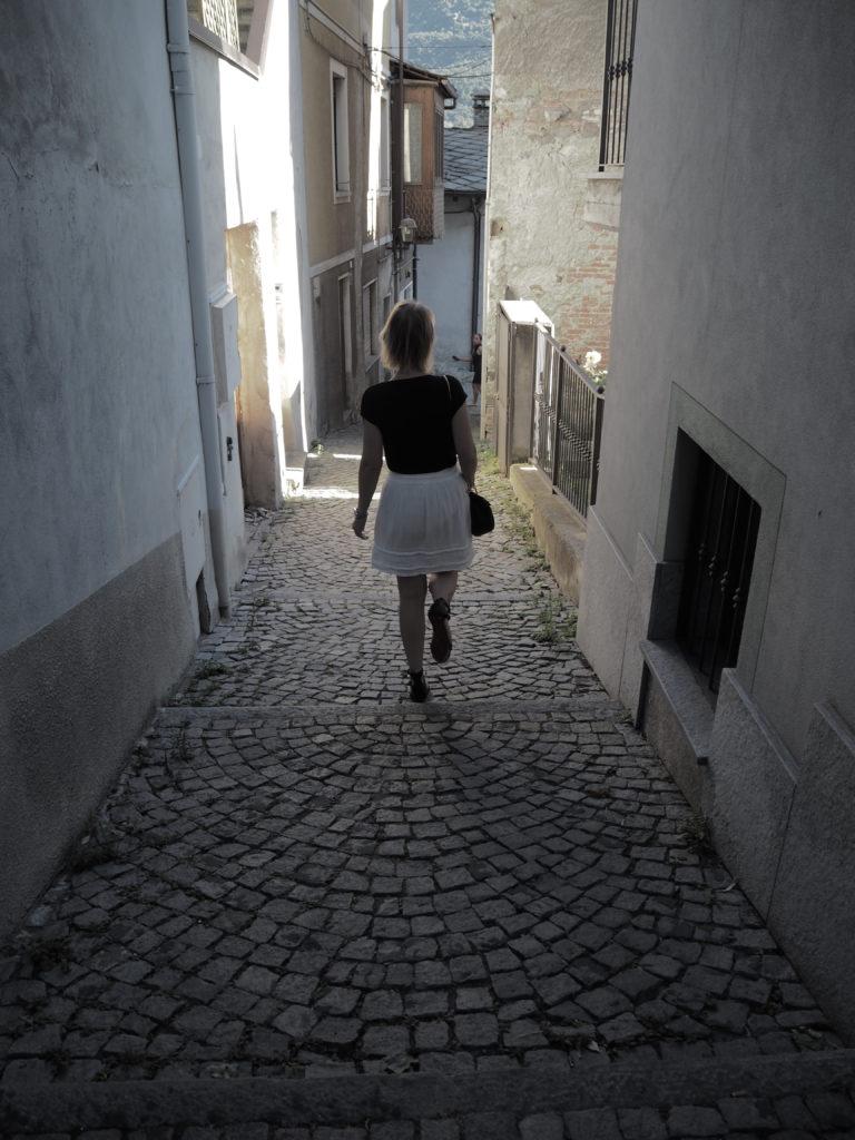 white skirt and Chloé Drew