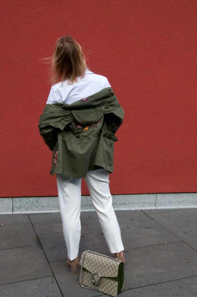 white outfit with khaki jacket and Gucci bag - claudinesroom