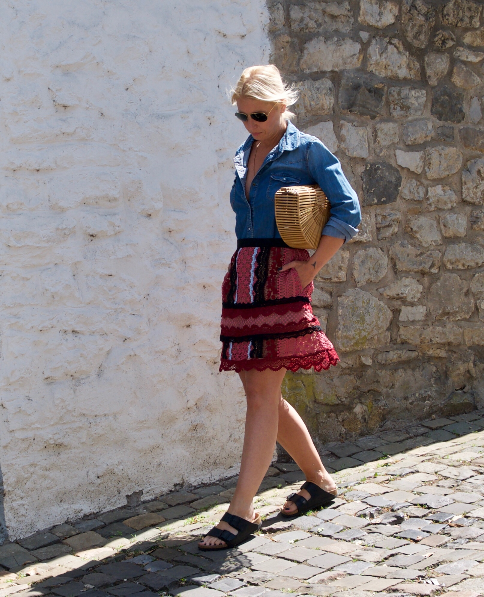 Self-Portrait skirt with Bamboo Bag - claudinesroom