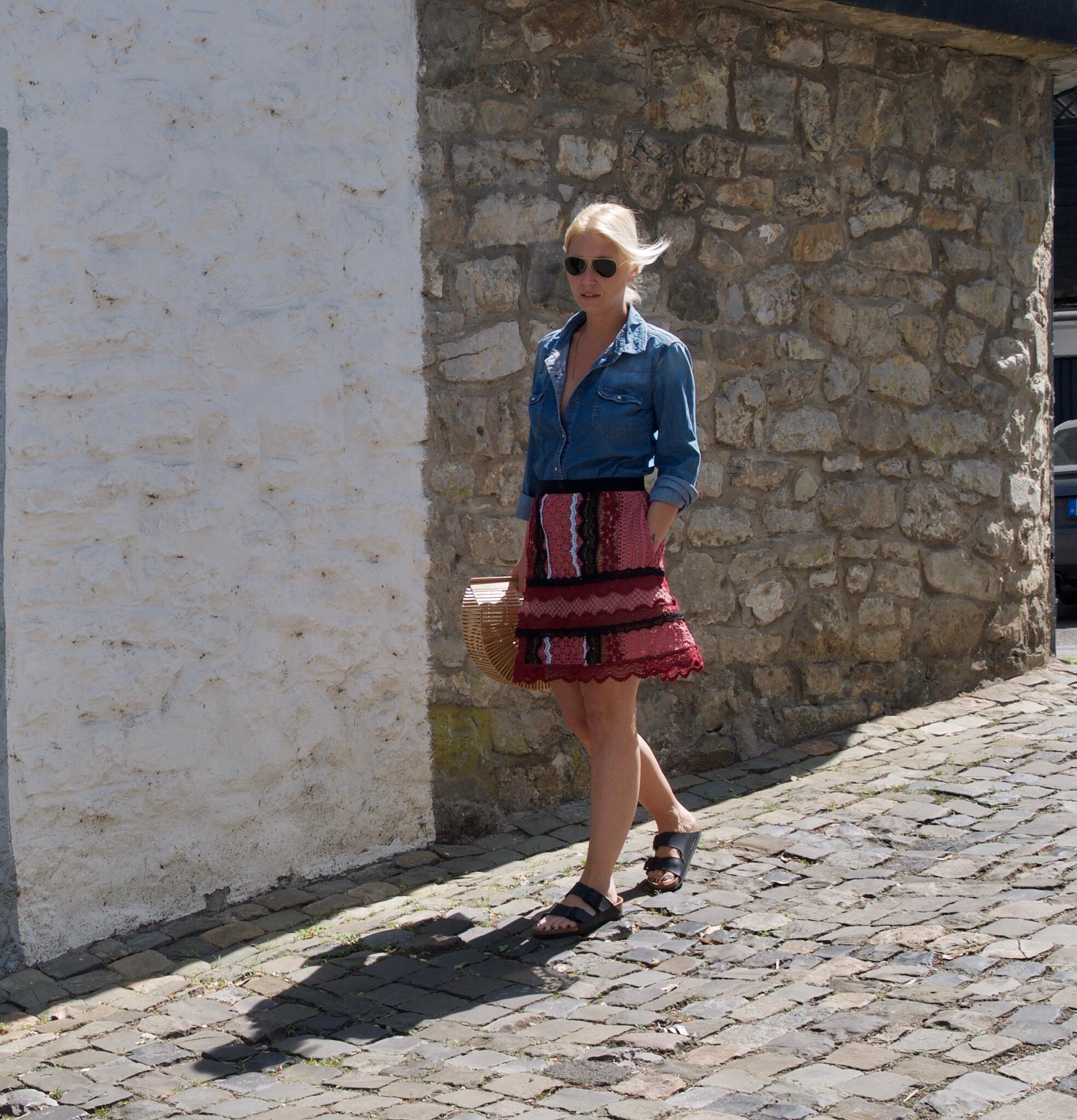 Self-Portrait skirt with Bamboo Bag