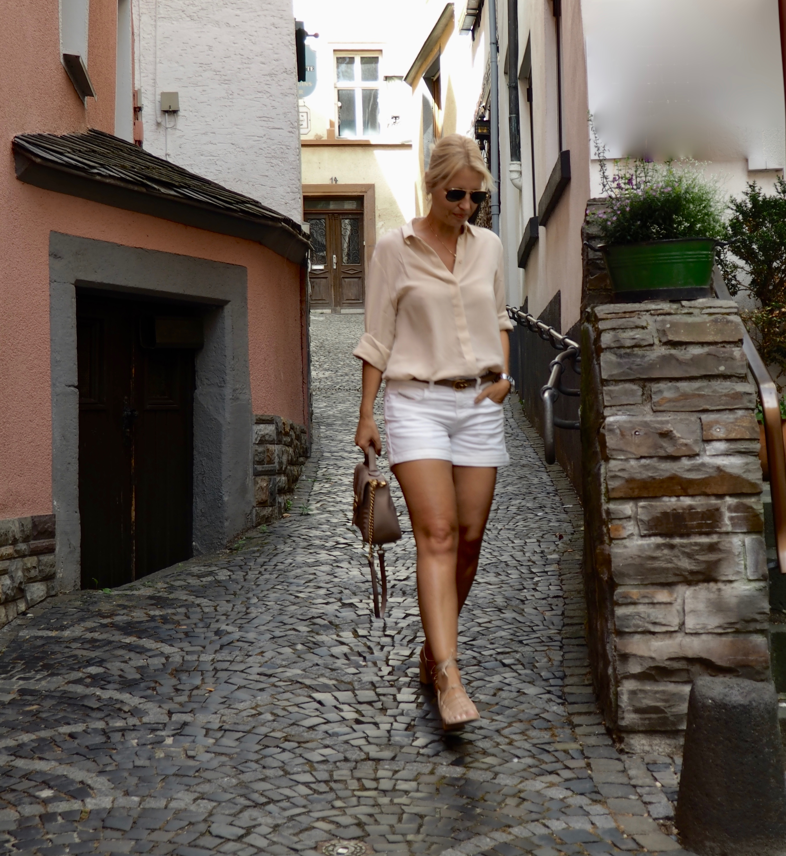 Denim shorts and silk blouse - claudinesroom